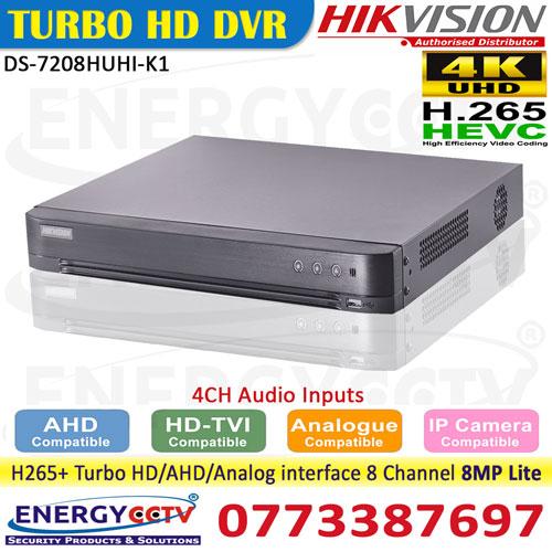DS-7208HUHI-K1-4ch audio support 8mp lite 5mp recording dvr sri lanka