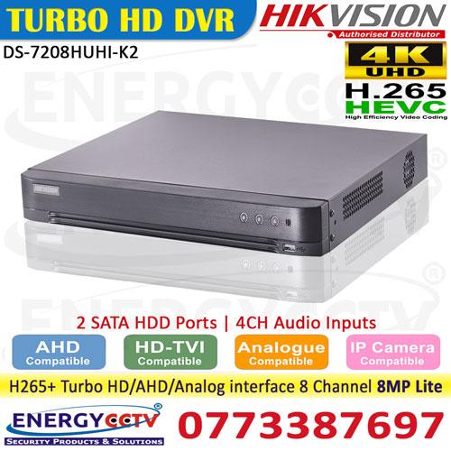 DS-7208HUHI-K2-dvr sri lanka hikvision h265 with 8mp lite hikvision sale sri lanka