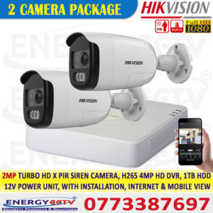 hikvision 2mp PIR motion activated inbuilt siren cctv camera sale in sri lanka