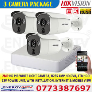2MP-HD-PIR-WHITE-LIGHT-3-CAMERA-PKG-4K HD 4-Channel DVR with Motion Active White light 2MP 2 Cameras Package