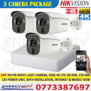 Hikvision colombo best price 2MP-HD-PIR-WHITE-LIGHT-3-CAMERA-PKG-with-4K-lite-DVR