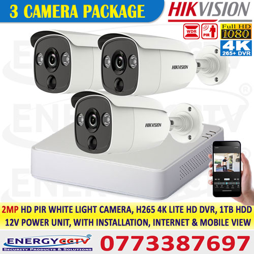 Hikvision colombo best price 2MP-HD-PIR-WHITE-LIGHT-3-CAMERA-PKG-with-4K-lite-DVR