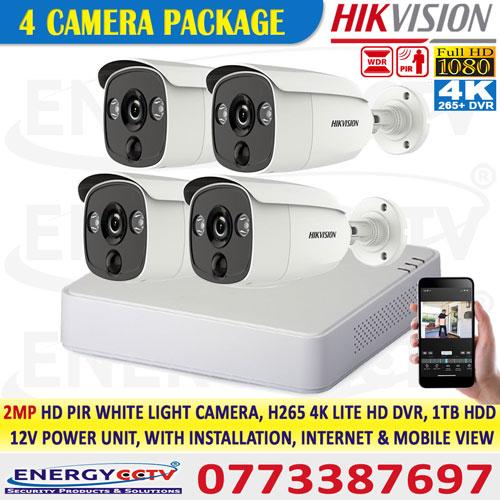 Hikvision sri lanka 2MP-HD-PIR-WHITE-LIGHT-4-CAMERA-PKG-with-4K-lite-DVR