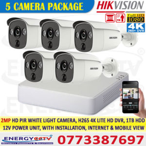Hikvision best price 2MP-HD-PIR-WHITE-LIGHT-5-CAMERA-PKG-with-4K-lite-DVR