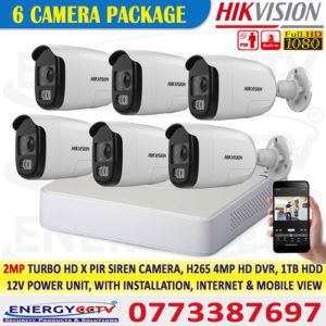 2 MP PIR Siren Fixed Bullet Camera package sale in sri lanka 6 cctv security camera with alarm sensor