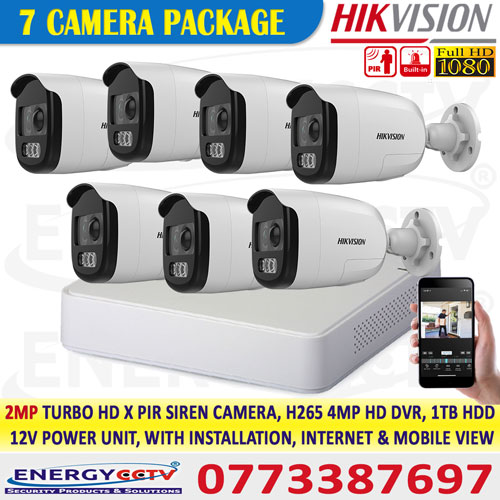 Hikvision 2mp cctv camera with motion sensor light cctv camera 7 package best sri lanka price for security system